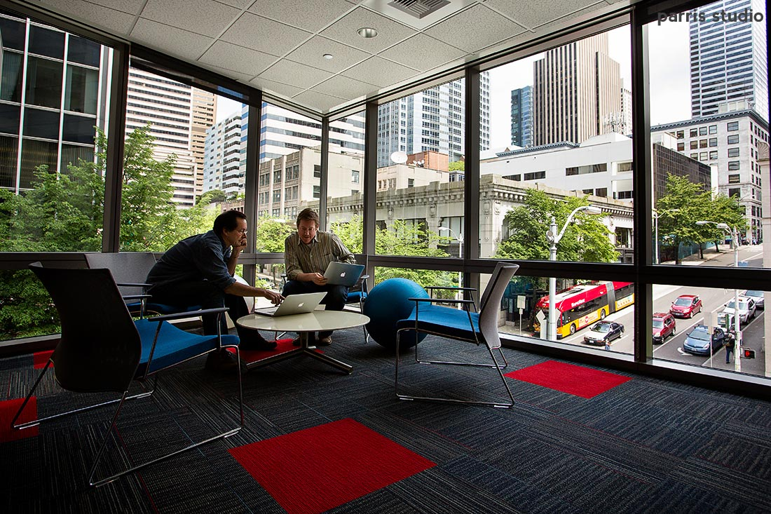 Business Teamwork in a conference room with a view